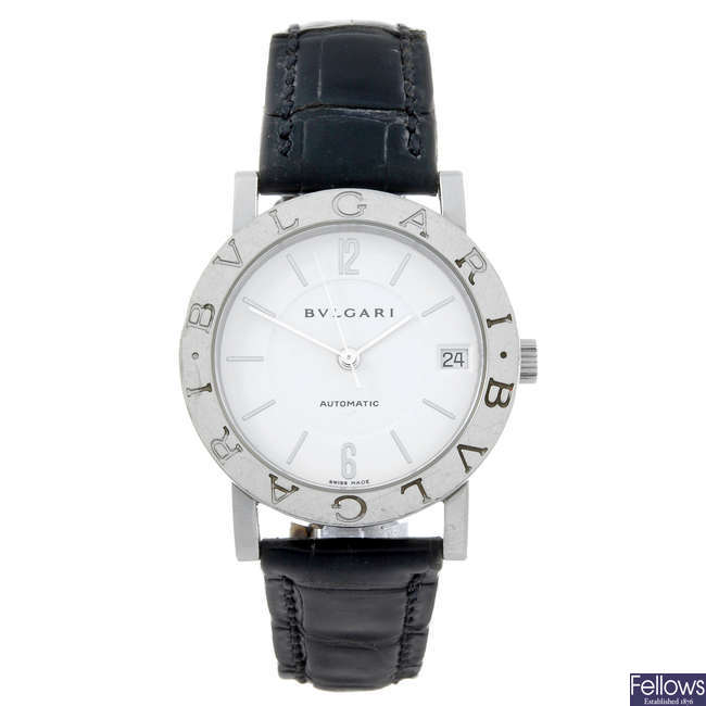 BULGARI - a gentleman's stainless steel Bulgari wrist watch.