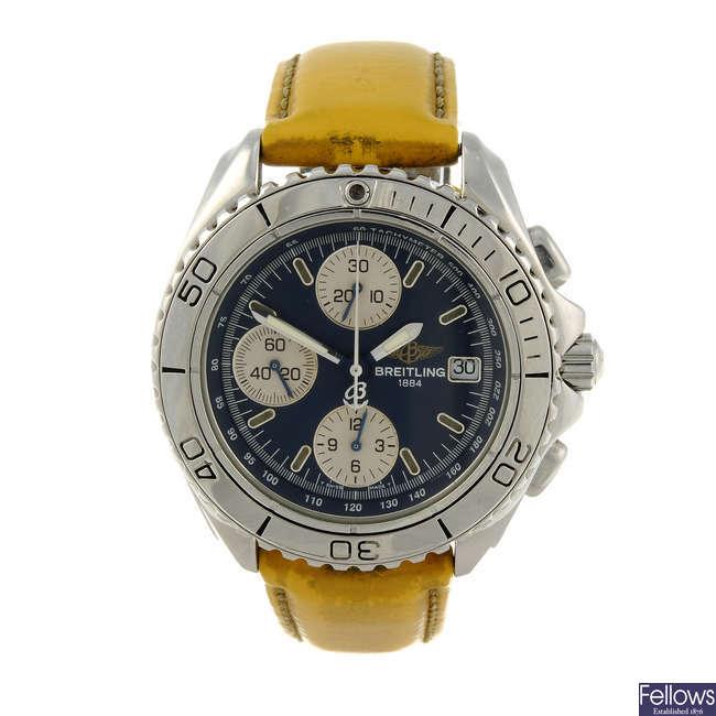 BREITLING - a gentleman's stainless steel Aeromarine Chrono Shark chronograph wrist watch.