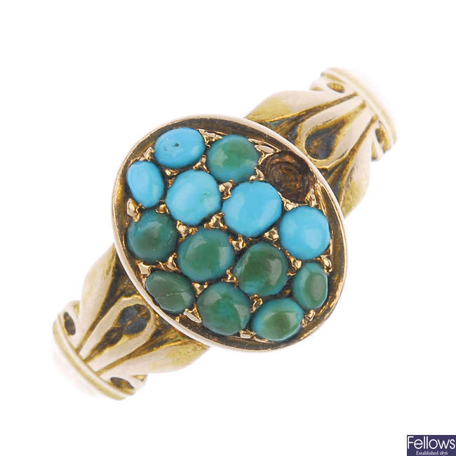 A late Victorian 15ct gold turquoise ring.