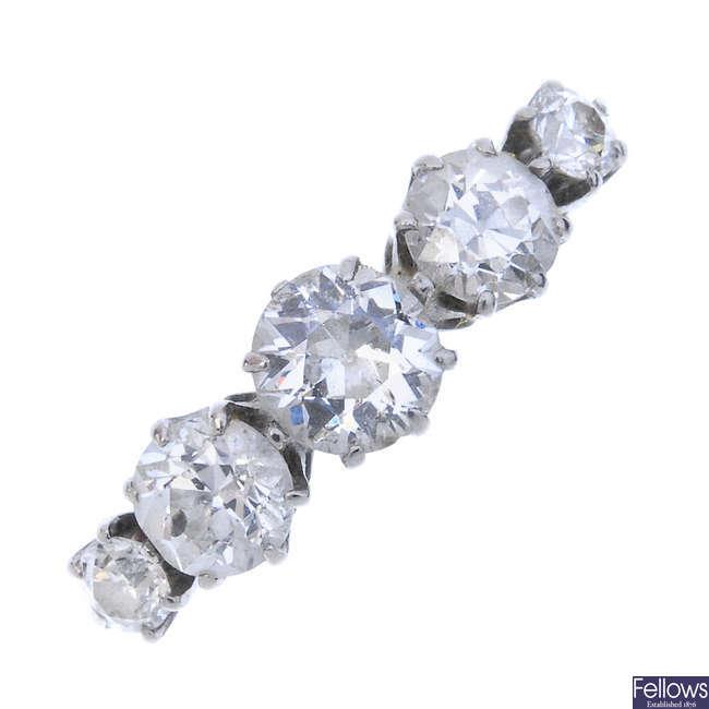 A mid 20th century platinum diamond five-stone ring.