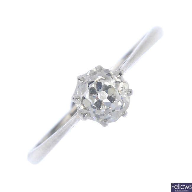 An early 20th century platinum diamond single-stone ring.