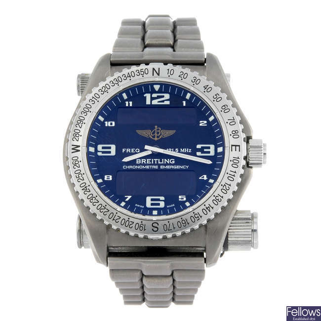 BREITLING - a gentleman's titanium Emergency Superquartz bracelet watch.