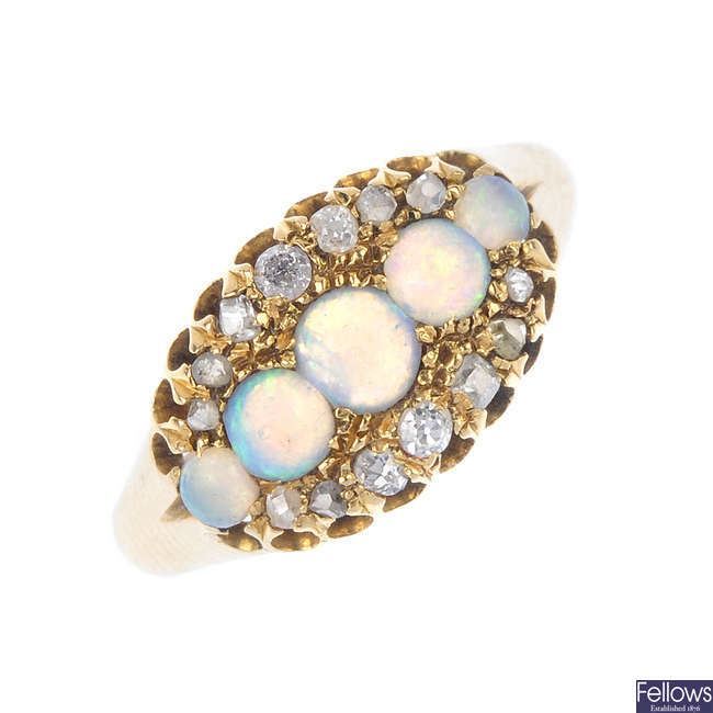 A late 19th century gold opal and diamond dress ring.