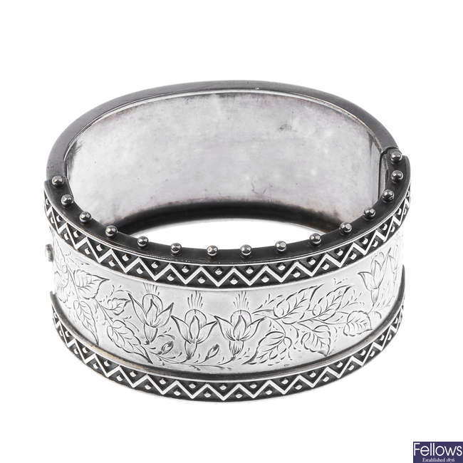 A late 19th century silver bangle.