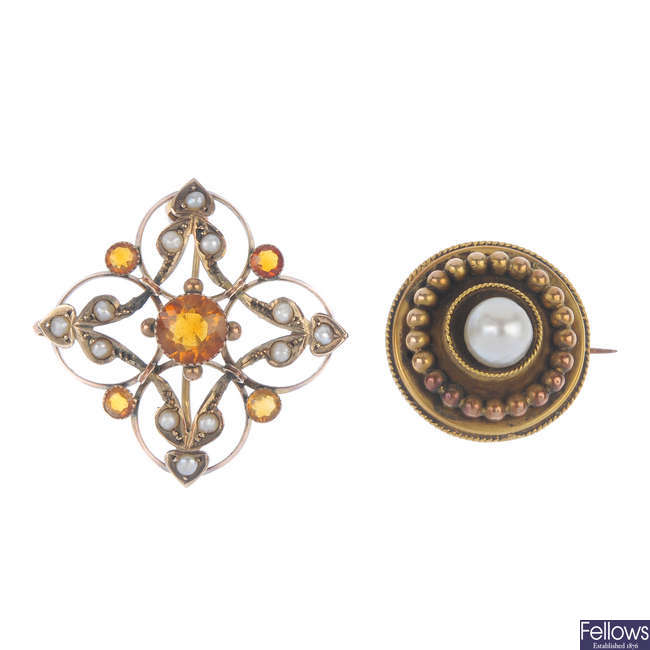 Two early 20th century gold brooches.