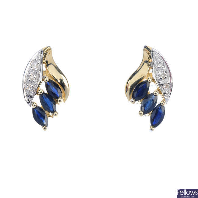 A pair of sapphire and diamond ear studs.
