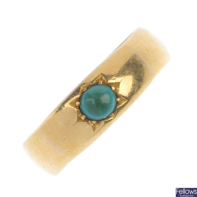 A late Victorian 22ct gold turquoise band ring.
