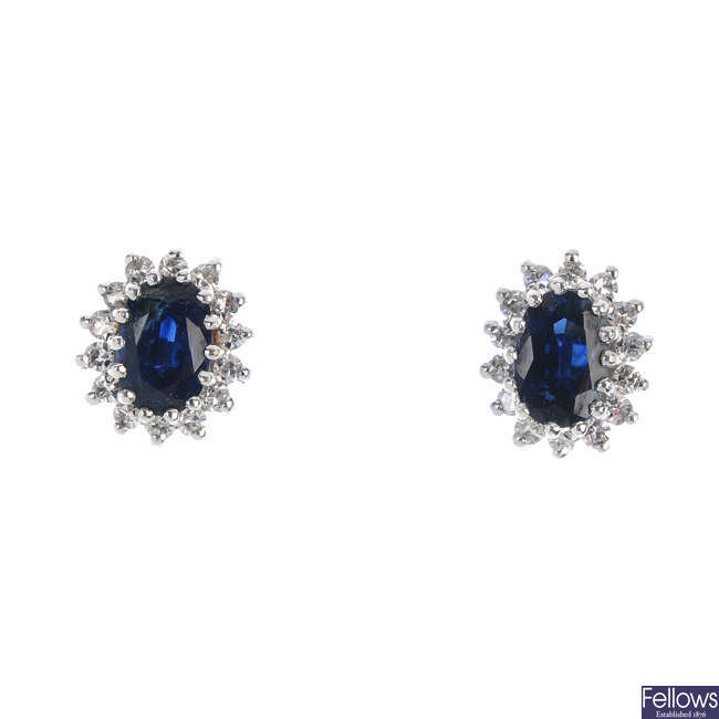 A pair of 18ct gold sapphire and diamond cluster ear studs.