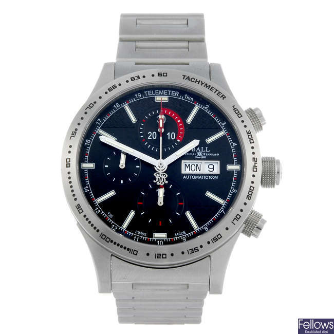 BALL - a gentleman's stainless steel Fireman Storm Chaser chronograph bracelet watch.