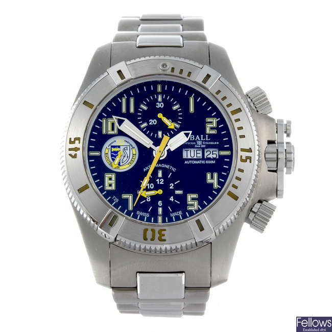 BALL - a gentleman's stainless steel Engineer Hydrocarbon Bathyscaph chronograph bracelet watch.
