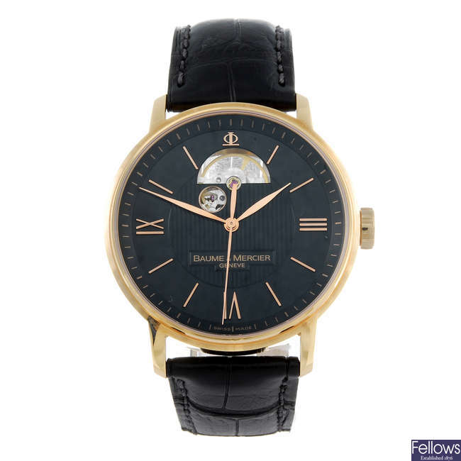 BAUME & MERCIER - a gentleman's 18ct rose gold Classima wrist watch.