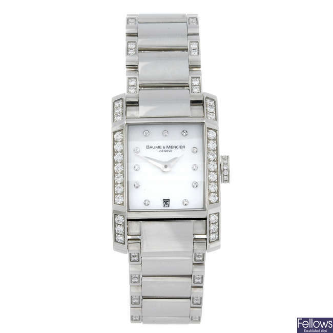 BAUME & MERCIER - a lady's stainless steel Hampton bracelet watch.