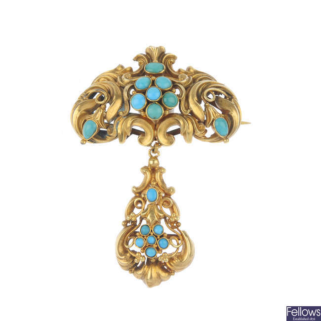 A late 19th century gold memorial turquoise brooch.
