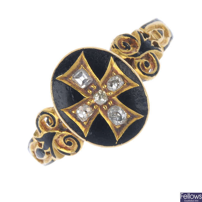 A mid Victorian 18ct gold diamond and enamel memorial ring.