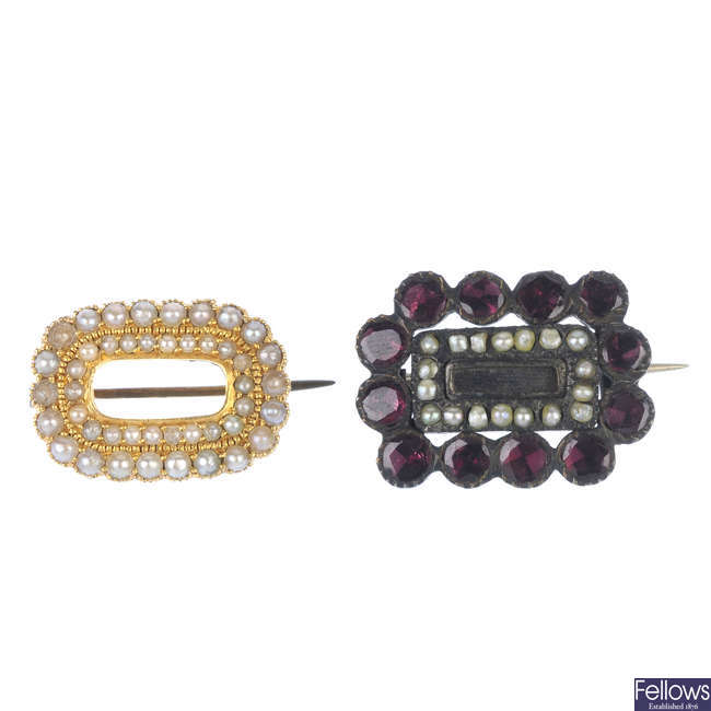 Two mid Victorian gem-set brooches.