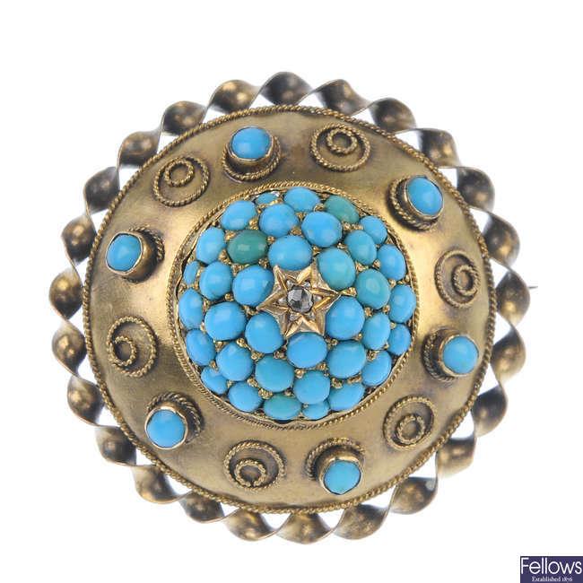 A late 19th century gold gem memorial brooch.