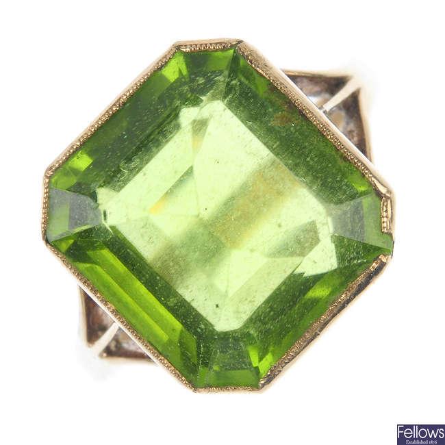 A peridot single-stone ring.