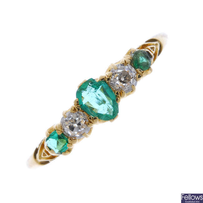 An early 20th century 18ct gold emerald and diamond ring.