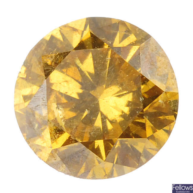 A brilliant-cut 'yellow' diamond, weighing 0.49ct.