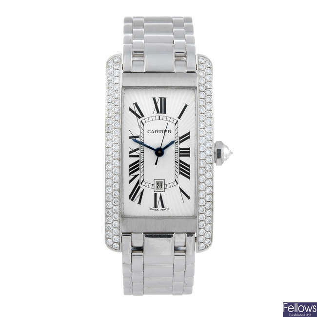 CARTIER - a factory diamond set 18ct white gold Tank Americaine bracelet watch.