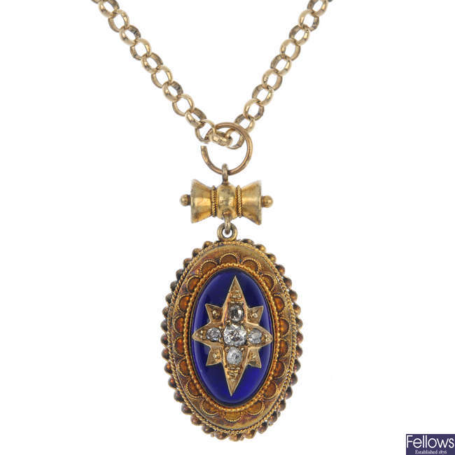 A late Victorian gold diamond and enamel pendant, with chain.