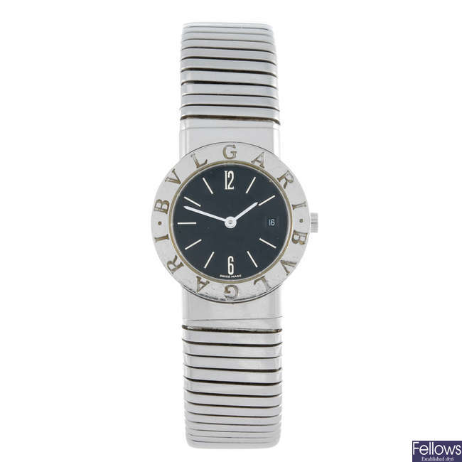 BULGARI - a lady's stainless steel Tubogas bracelet watch.