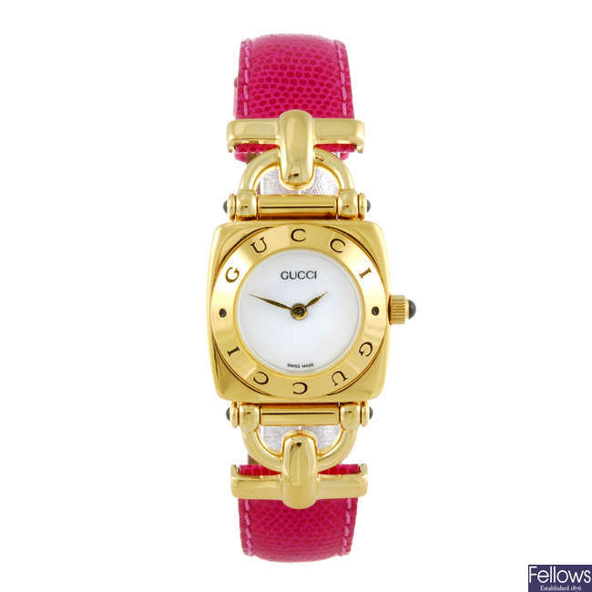 GUCCI - a lady's gold plated 6300L wrist watch.