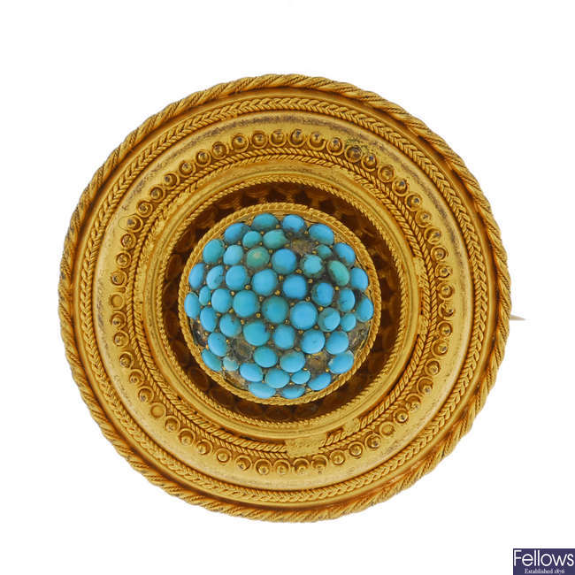 A late 19th century gold turquoise memorial brooch.