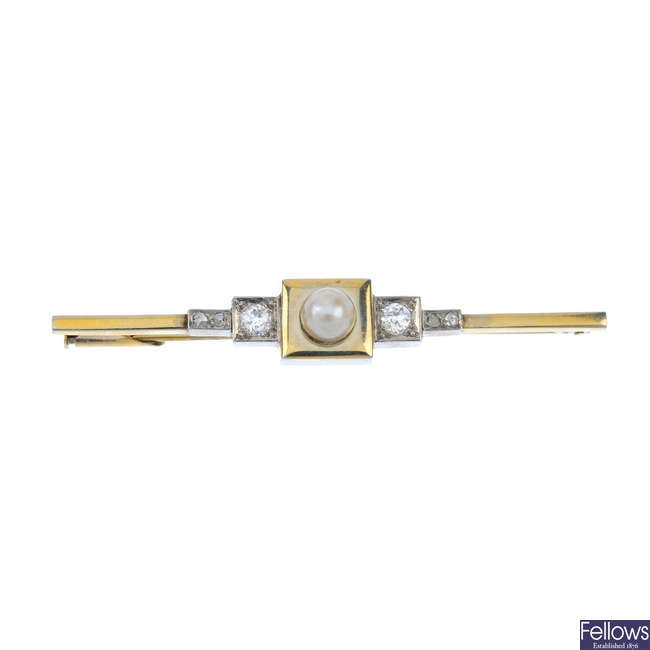 A mid 20th century cultured pearl and diamond bar brooch.