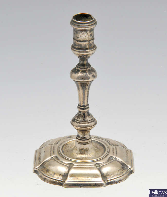 A George II silver taperstick.