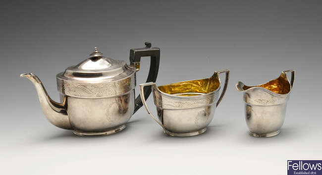 A George III silver three piece silver tea service.