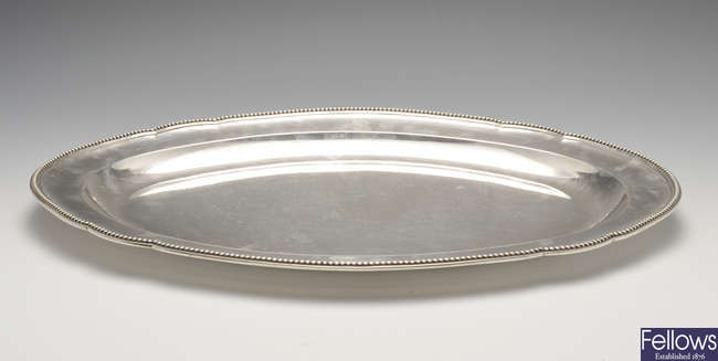 A George III silver meat dish by Paul Storr.