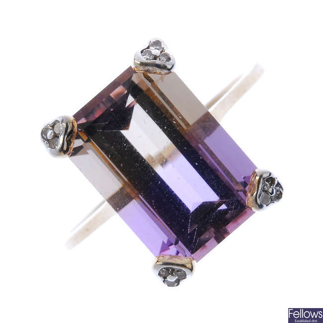 A 9ct gold ametrine and diamond accent ring.