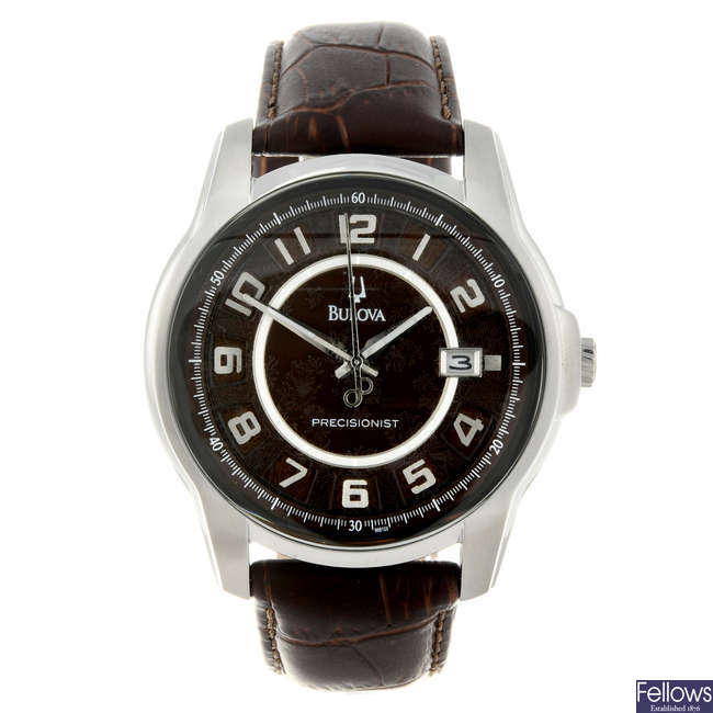 BULOVA - a gentleman's stainless steel Precisionist wrist watch.