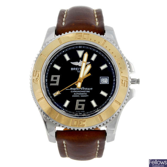 BREITLING - a gentleman's stainless steel Aeromarine Superocean wrist watch.