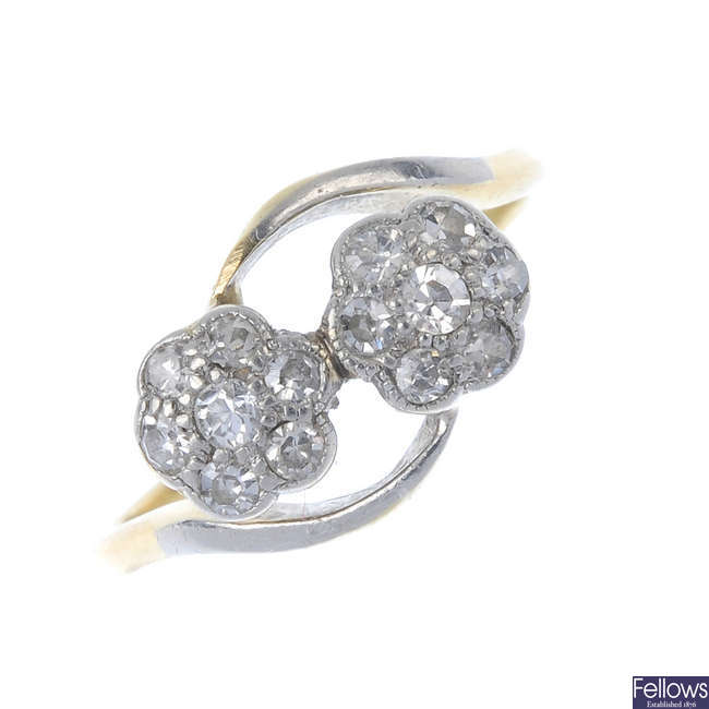 An early 20th century 18ct gold diamond floral cluster ring.