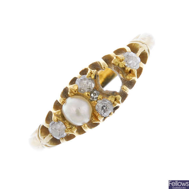 A mid 20th century 18ct gold split pearl and diamond ring.