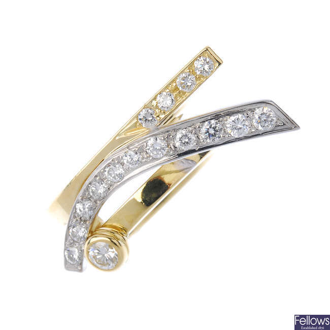 An 18ct gold diamond dress ring.