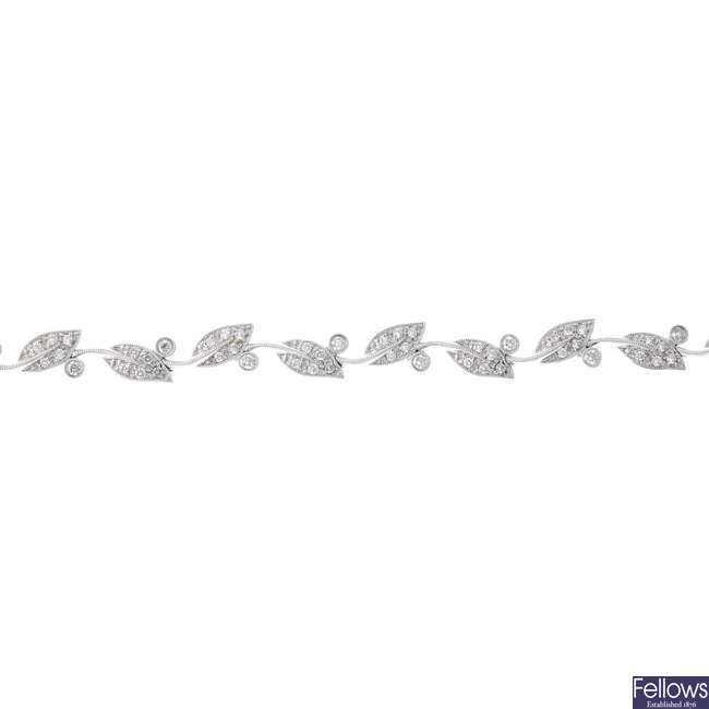 A diamond foliate bracelet.
