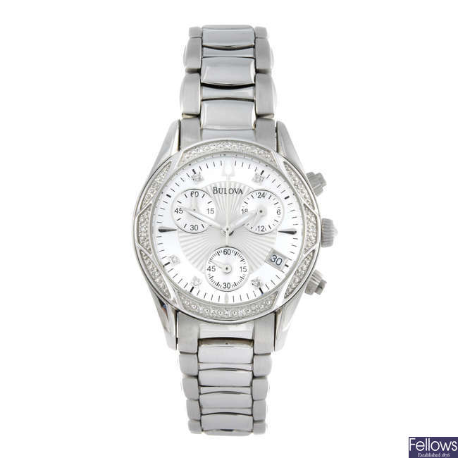 BULOVA - a lady's stainless steel chronograph bracelet watch.