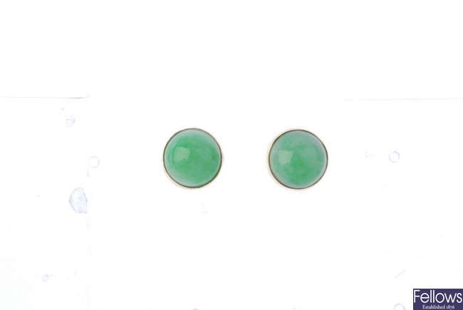 A pair of jade ear studs.