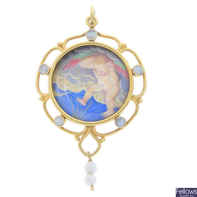An mid 20th century 18ct  gold gem-set hand painted picture pendant.