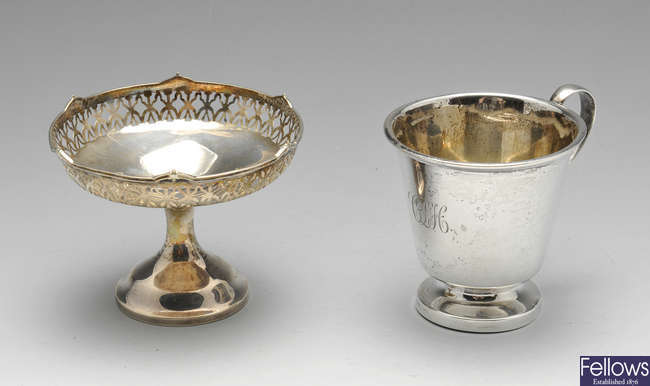 An Art Deco silver christening mug, etc.
