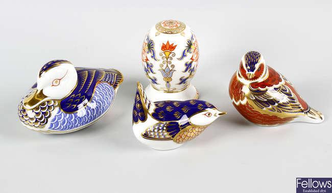 Three Royal Crown Derby birds