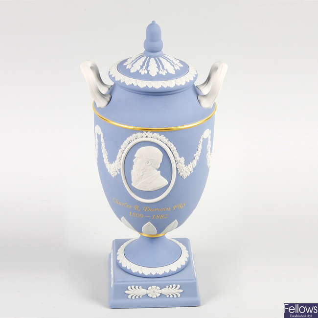 A unique Wedgwood blue Jasper ware vase and cover.