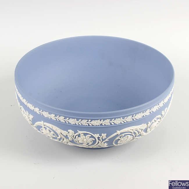 A Wedgwood blue jasperware fruit bowl.