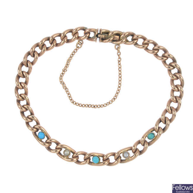An early 20th century 9ct gold turquoise and split pearl bracelet.