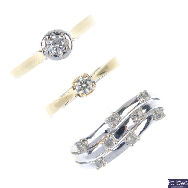 A selection of diamond rings.