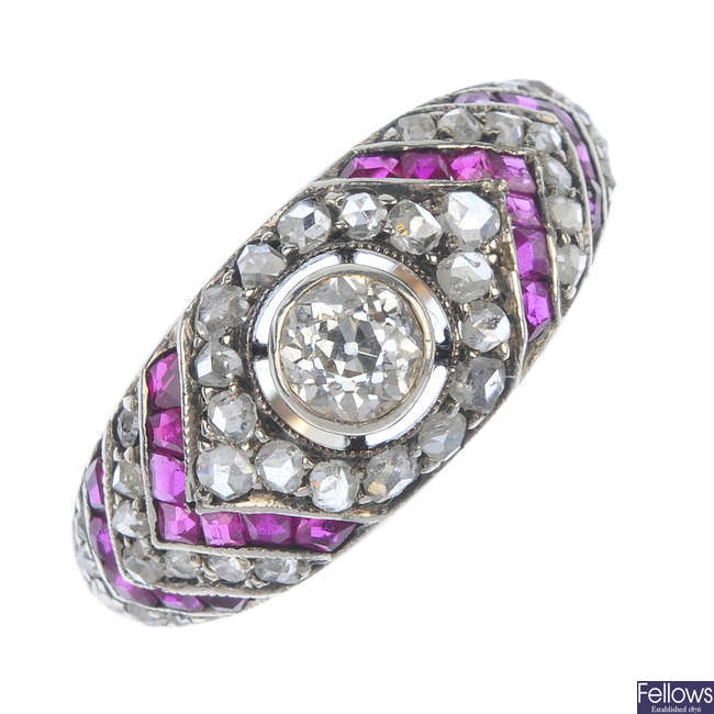 A late 19th century silver and gold, diamond and ruby ring.