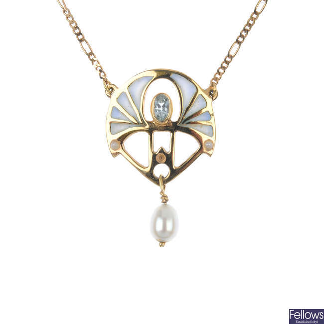 An 18ct gold aquamarine, cultured pearl and enamel necklace.
